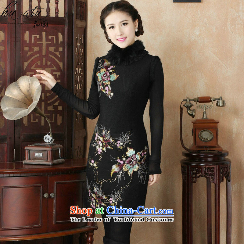 Floral qipao new winter retro improved stylish rabbit hair for warm women's day-to-Folder cotton cheongsam dress black thin flower燲L