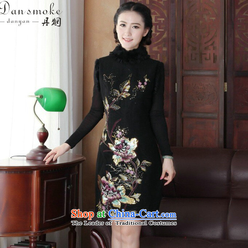 Dan smoke qipao winter 2015 new product improvement and Stylish retro rabbit hair for warm women's day-to-Folder cotton cheongsam dress Large Black�XL