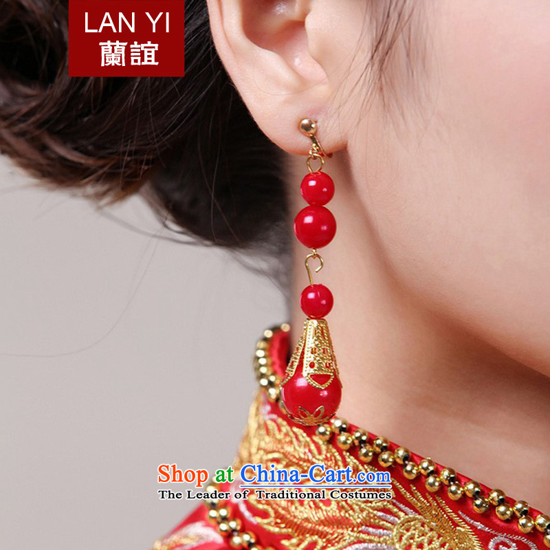 The Friends of the bride qipao gown accessories red retro earrings Chinese Stream Su-hi field earrings pearl earrings
