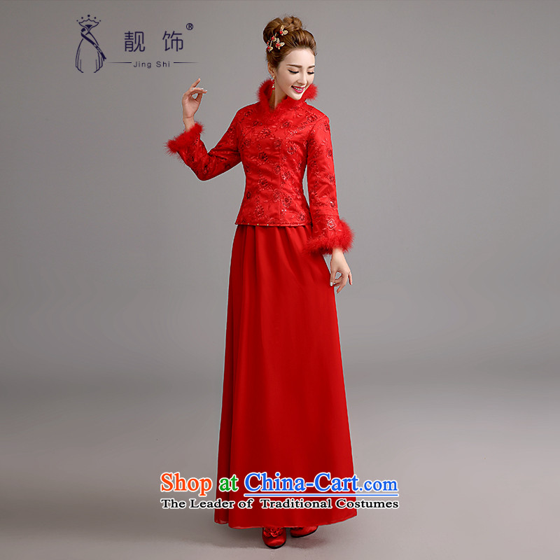 The new 2015 International Friendship cheongsam dress long winter bride bows service long-sleeved thick cotton folder retro qipao kit red bows service  S