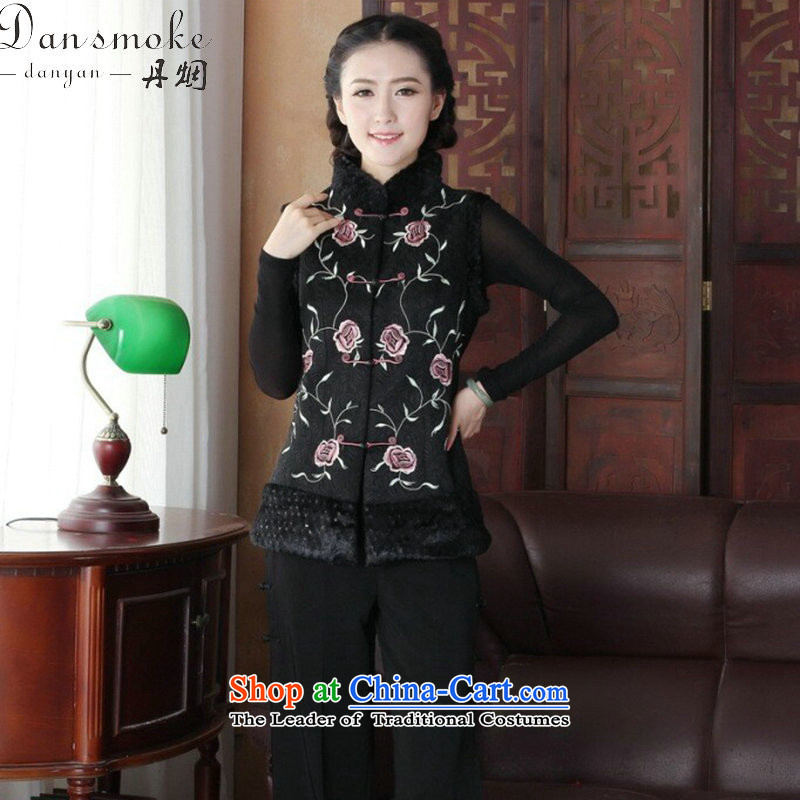 Dan smoke autumn and winter new ethnic Chinese women's Mock-neck embroidery improved disk detained Tang dynasty, T-shirt, a figure 2XL color