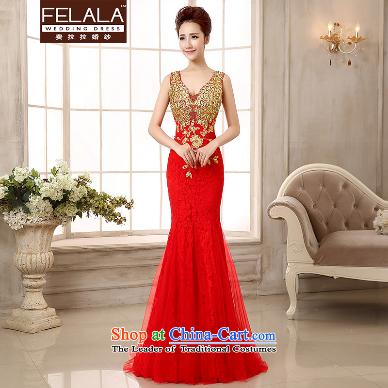 Ferrara?Spring 2015, new dress deep V shoulders and toasting champagne evening dress crowsfoot Sau San Services Red?L?Suzhou Shipment
