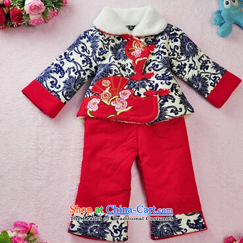 Tang Dynasty girls winter clothing children Tang dynasty women baby plus service pack Lint-free cotton swab China wind dress porcelain blue燲L1-2 age