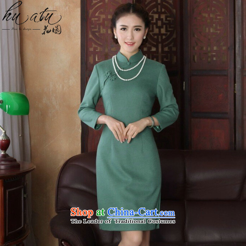Floral�Spring 2015 cheongsam dress Chinese qipao collar improved graphics thin wool is fashionable dresses long-sleeved green qipao�2XL