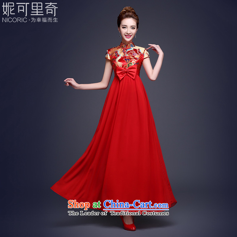 The pregnant woman dress bride long qipao 2015 winter new evening dresses long red dragon serving drink use marriage red燲XL