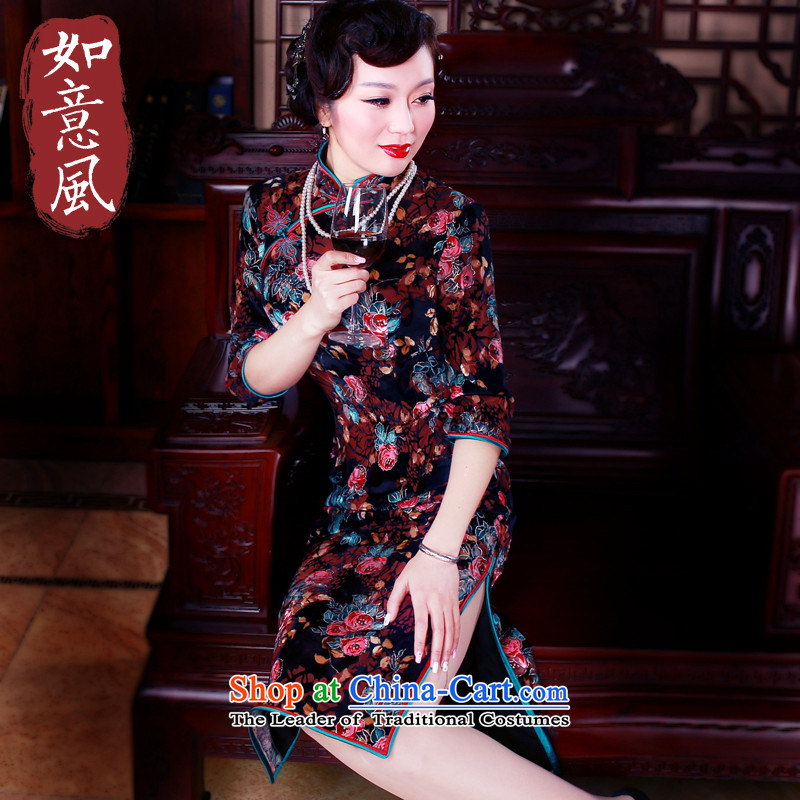 After a�new 2015-retro. When Upgrading cheongsam dress cuff long wool cheongsam dress in older Dress�Suit 5046�S