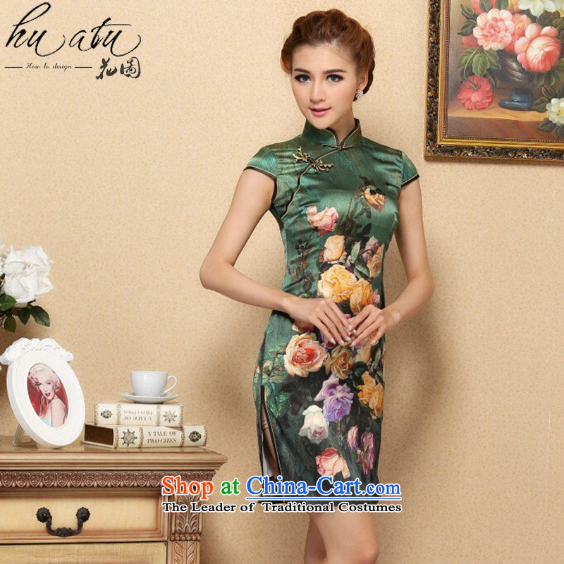 Floral qipao Tang dynasty women's stylish Chinese herbs extract collar improved cheongsam elegant summer, Silk Cheongsam banquet green聽L