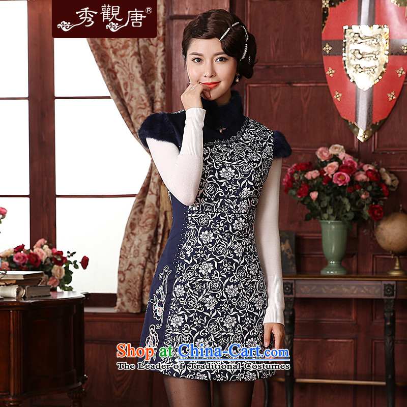(SOO-Kwun Tong as soon as possible following the new 2015 celadon female clamp unit of winter clothing qipao pure cotton retro style qipao skirt QM3850 improved blue?L
