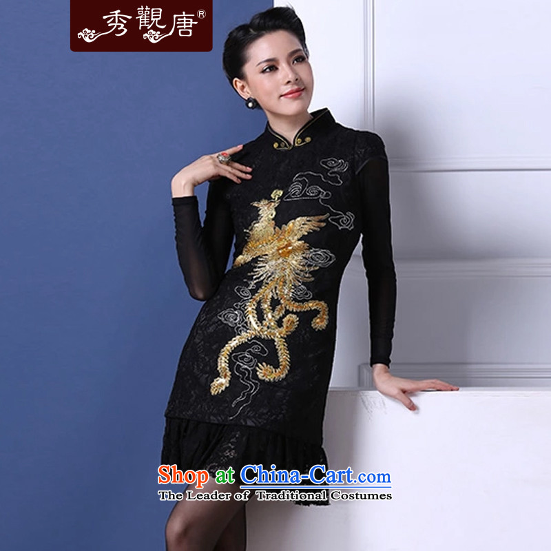 Sau Kwun Tong Fung Mo winter clothing retro improved stylish winter folder cotton Sau San black lace munul flower cheongsam dress QM31117 black聽M