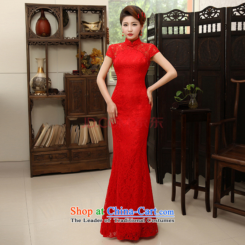 Charlene Choi Ling /YANLING new Chinese marriages bows services red crowsfoot lace long cheongsam dress female summer QP-600 RED�XL