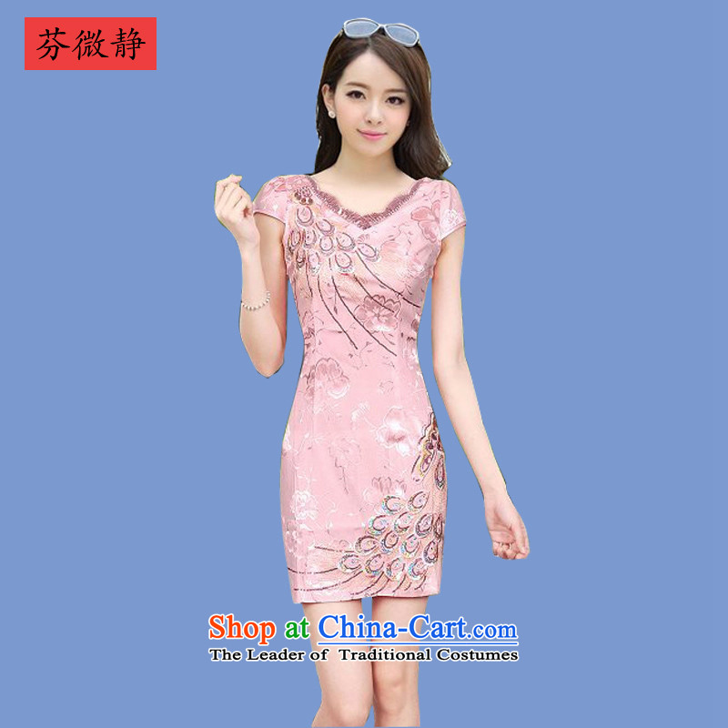 Stephen micro-ching聽2015 Summer cheongsam dress summer Stylish retro short of improved Sau San sexy cheongsam dress 8817 puffin island toner聽L