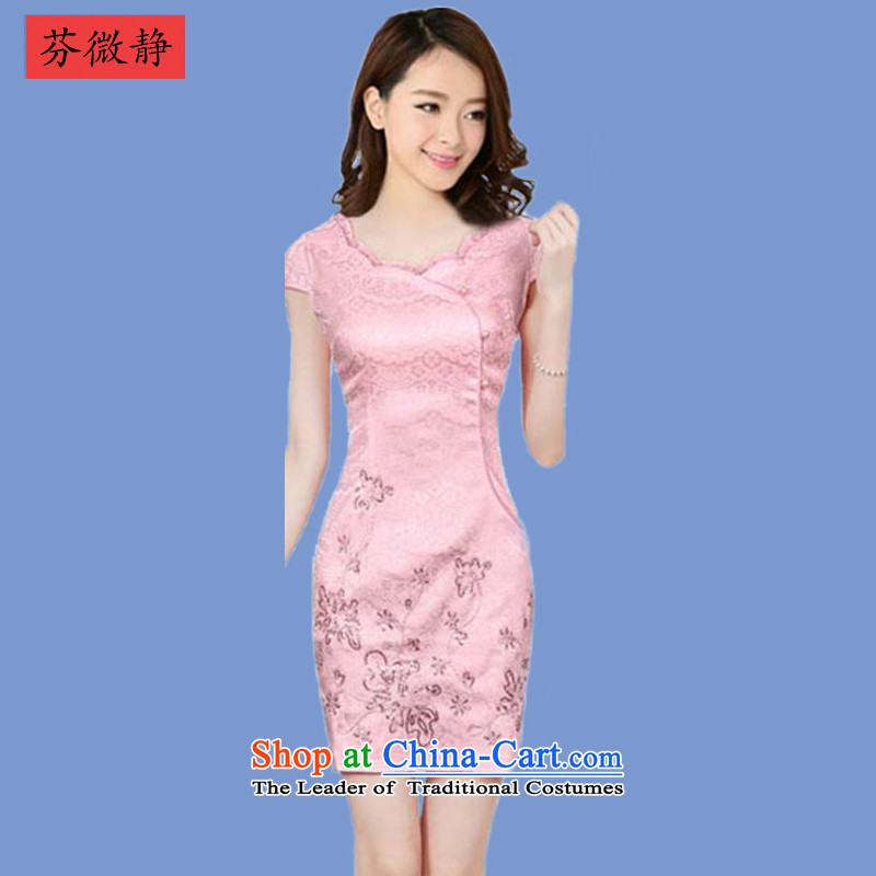 Leung Ching�15 Spring_Summer micro-loaded cheongsam dress Stylish retro cheongsam dress daily improved Chinese dresses Winter Female 636 fault if toner燲XL