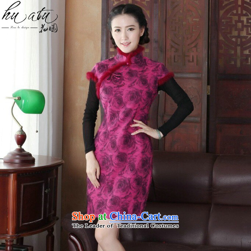 Floral qipao Tang dynasty women new autumn and winter Chinese collar short, improved gross cheongsam dress is stylish dress figure color?L