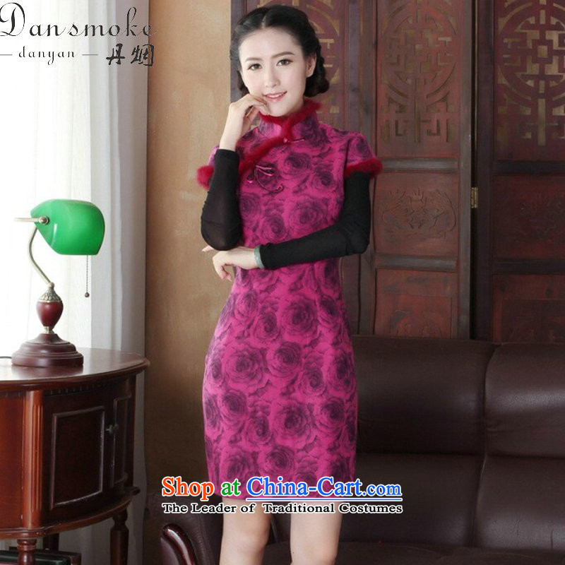 Dan smoke cheongsam dress Tang dynasty new autumn and winter Chinese collar short, improved gross cheongsam dress is stylish dress Figure Color?XL