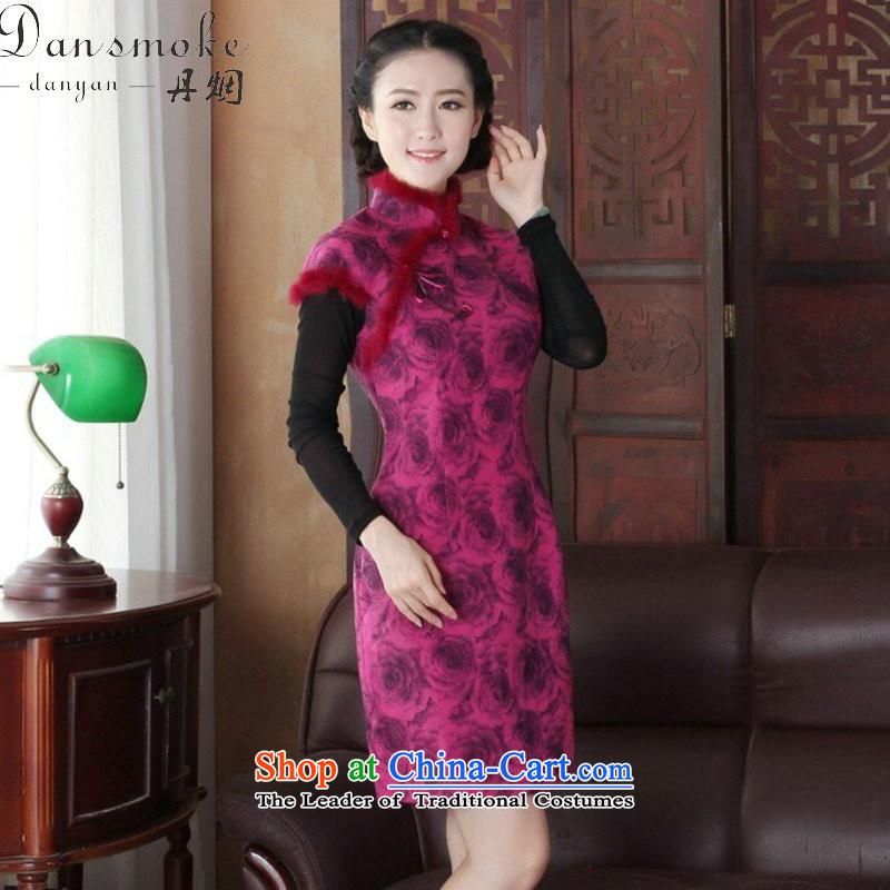 Dan smoke cheongsam dress Tang dynasty new autumn and winter Chinese collar short, improved gross cheongsam dress is stylish dress Figure Color聽XL, Dan Smoke , , , shopping on the Internet