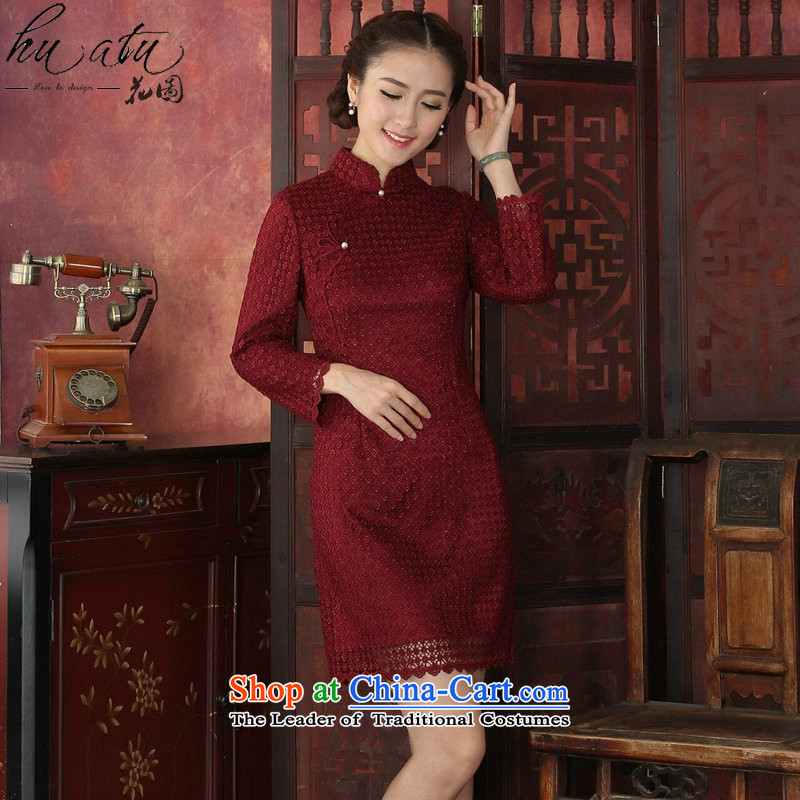 Floral�Spring 2015 cheongsam dress Tang Dynasty Chinese modern water-soluble lace cheongsam dress collar improved cheongsam dress festive red�S