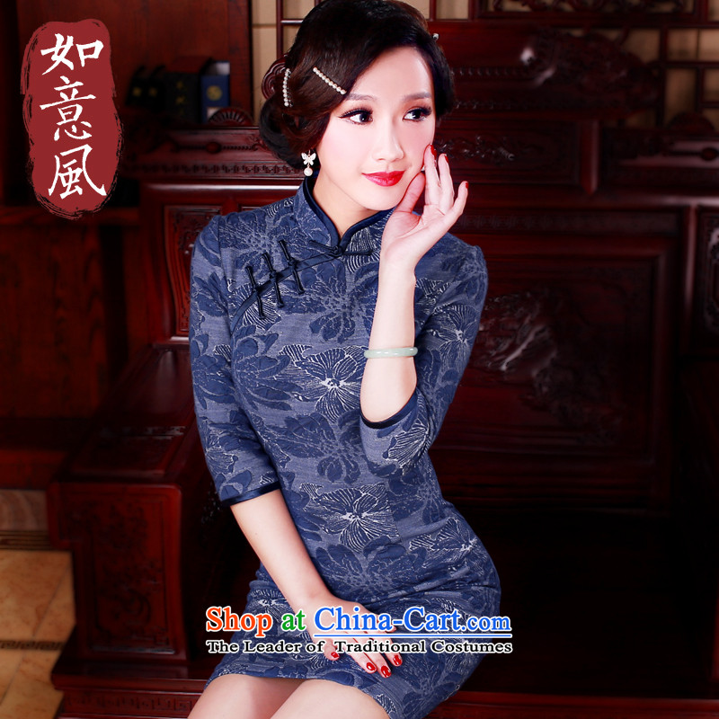 After a day of wind爏pring 2015 retro long cheongsam dress new improvements in the stylish cuff cheongsam dress�'s 504.2 Blue燤