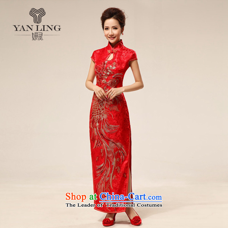 2015 Chinese style and sexy improved qipao bride retro red qipao qipao married 63 Red聽S