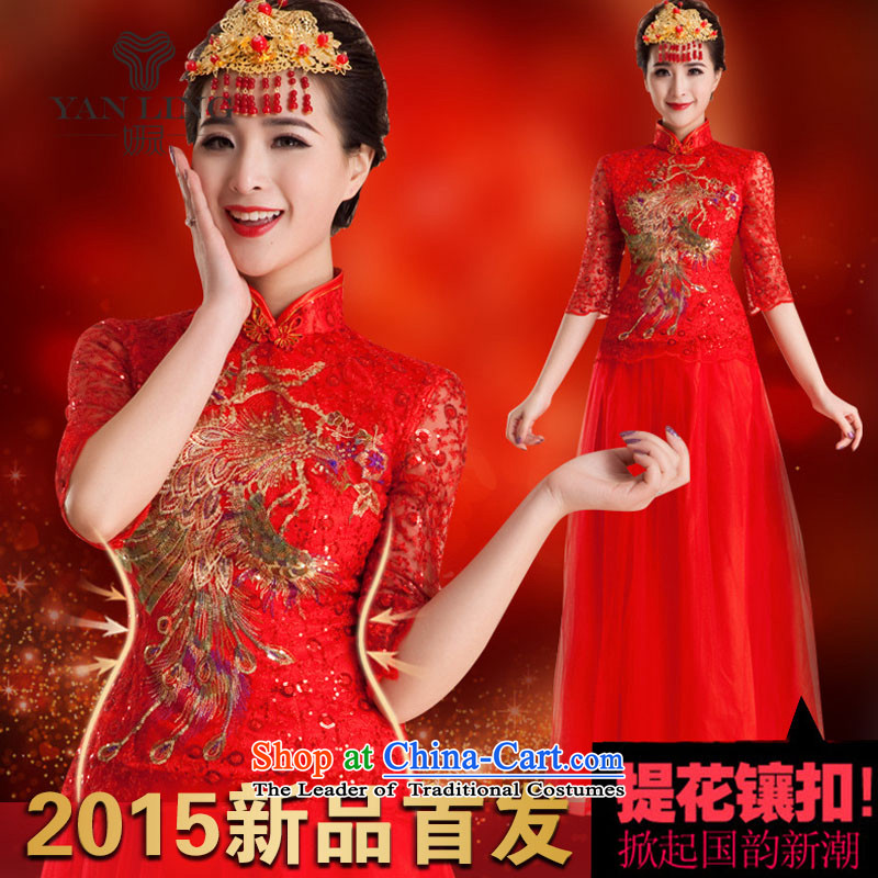 2015 wedding dresses qipao gown of nostalgia for the marriage to a drink bride wedding fashion long QP83 improved red?S