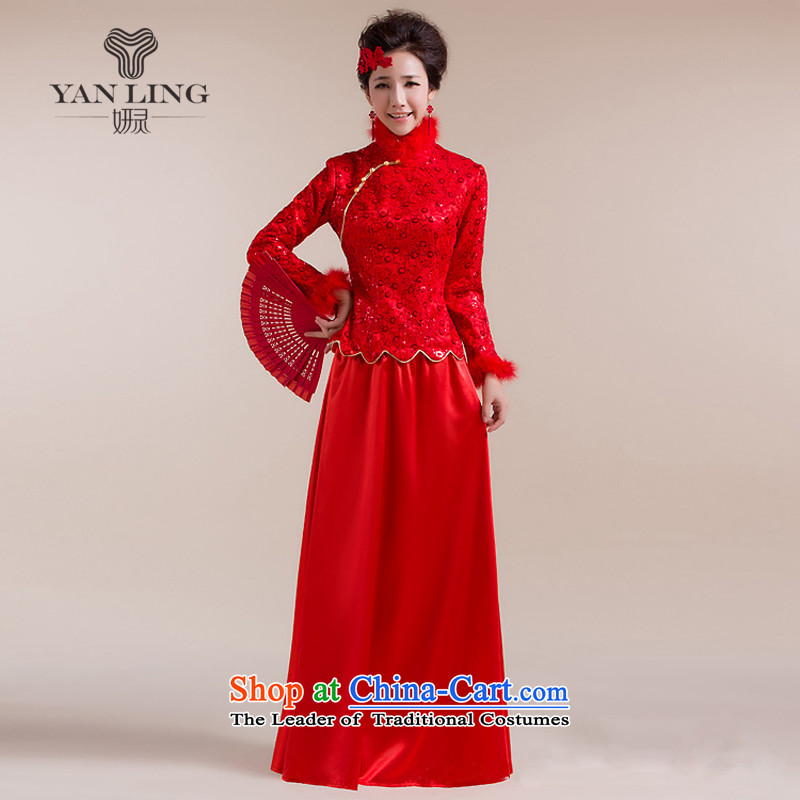 The new 2015 Gross Gross for cuff dot decorated under the aliasing dragging long skirt Tang Gown wedding dress red?L