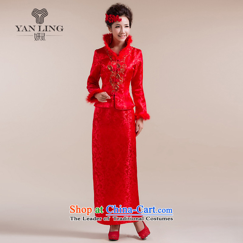 2015 New High-collar also traditional coin-style robes and Tang dynasty long skirt wedding dress red L