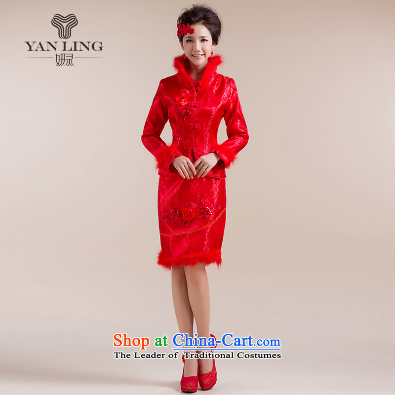 The new 2015 winter cheongsam new marriage bows qipao winter cotton qipao feather gross for Red?M