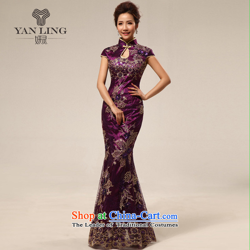 2015 Marriage Ceremonies qipao retro improved courtesy service etiquette clothing cheongsam dress summer stylish 67 purple燲XL