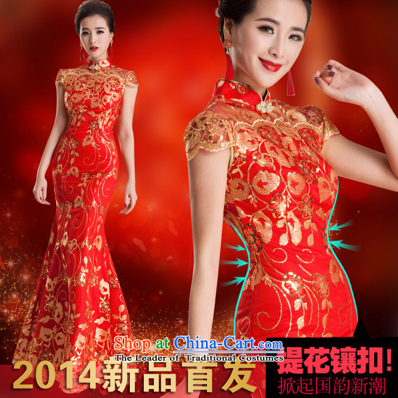 2015 wedding services wedding dresses qipao toasting champagne evening dress retro marriage crowsfoot long red bride QP80 RED�XL