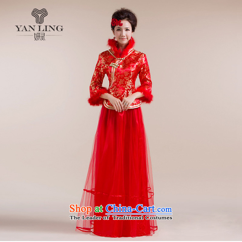 The new 2015 Gross Gross for cuff gauze long skirt with gold floral decorations Tang Gown wedding dress red燣