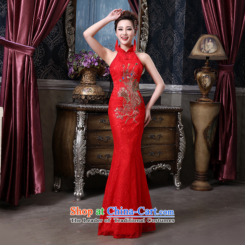 2015 marriages bows to hang the history back lace Phoenix cheongsam wedding bride with a crowsfoot QP-136 RED?M