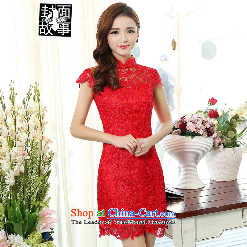 Cover Story 2015 new dress lace cheongsam qipao bows with bride bridal dresses services red?S
