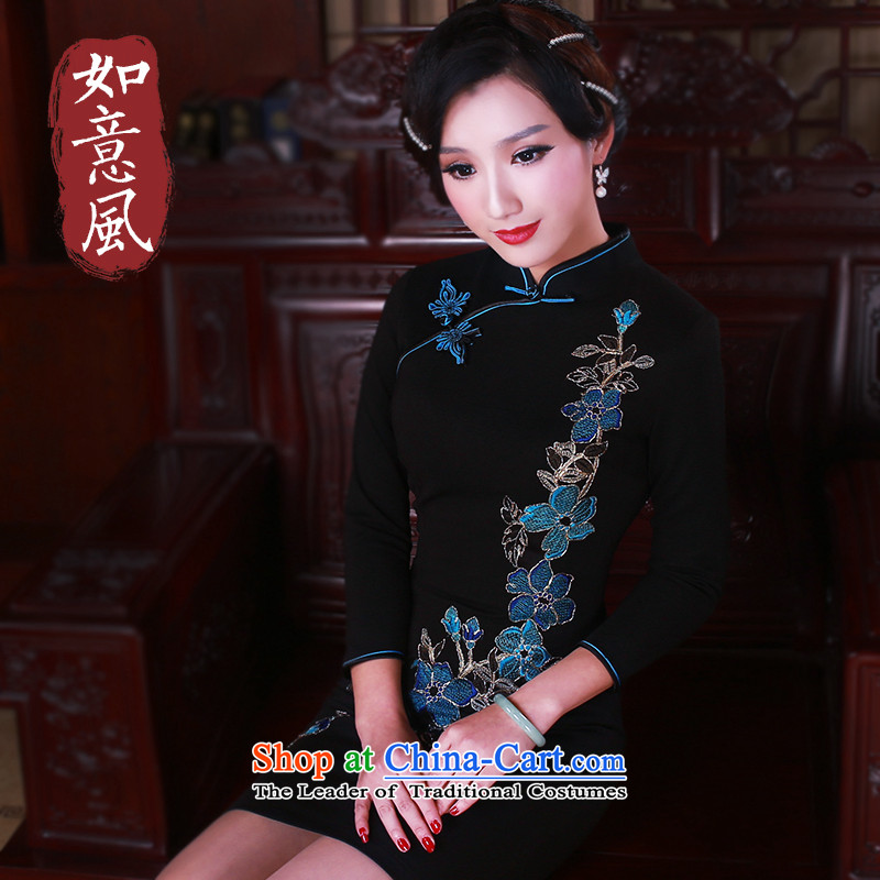 After a new wind in 2015 skirt Fashion improvement cuff qipao daily retro cheongsam dress�41 Black燲XL