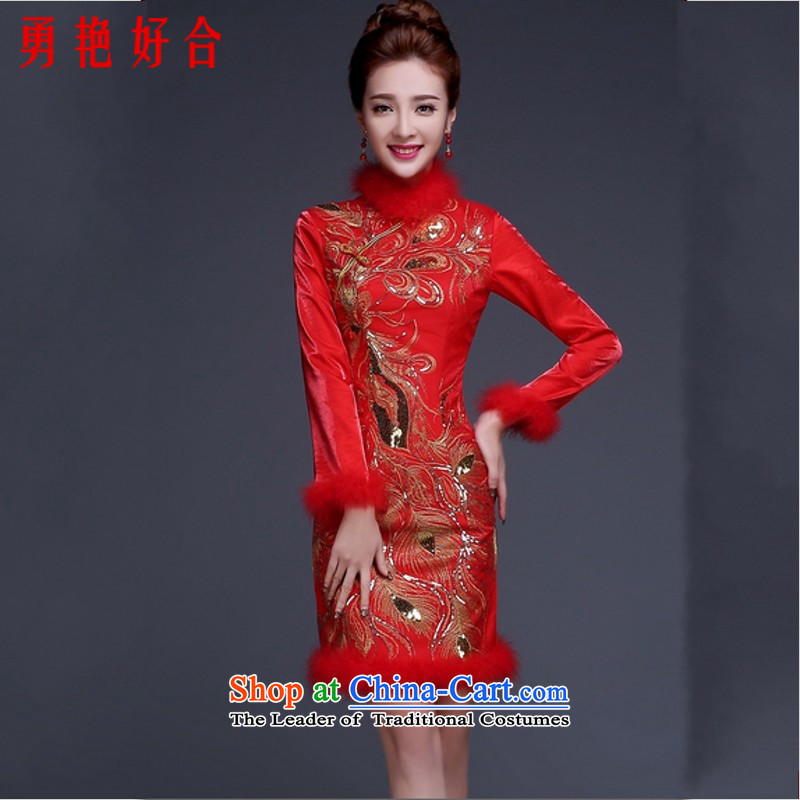 Yong-yeon and bows Service Bridal Fashion 2015 new long-sleeved qipao gown of winter clothing marriage short_ thick red red Kim Bong-tail?S