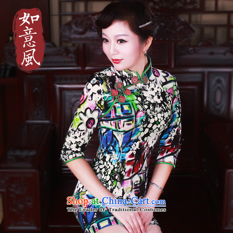 After a new wind spring 2015 cheongsam dress in stylish retro qipao cuff everyday dress�suit 5040�XL