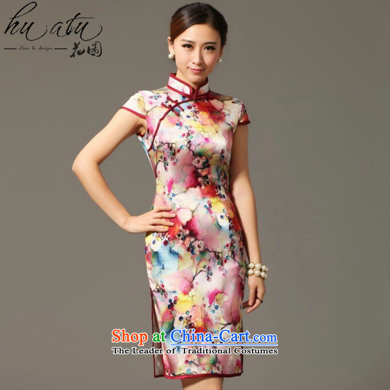 Spend the summer of qipao figure female Tang Dynasty Chinese herbs extract collar qipao sit back and relax Silk Cheongsam spend grape dress Figure?2XL color