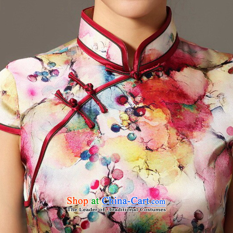 Spend the summer of qipao figure female Tang Dynasty Chinese herbs extract collar qipao sit back and relax Silk Cheongsam spend grape dress figure color聽mosaic 2XL, shopping on the Internet has been pressed.