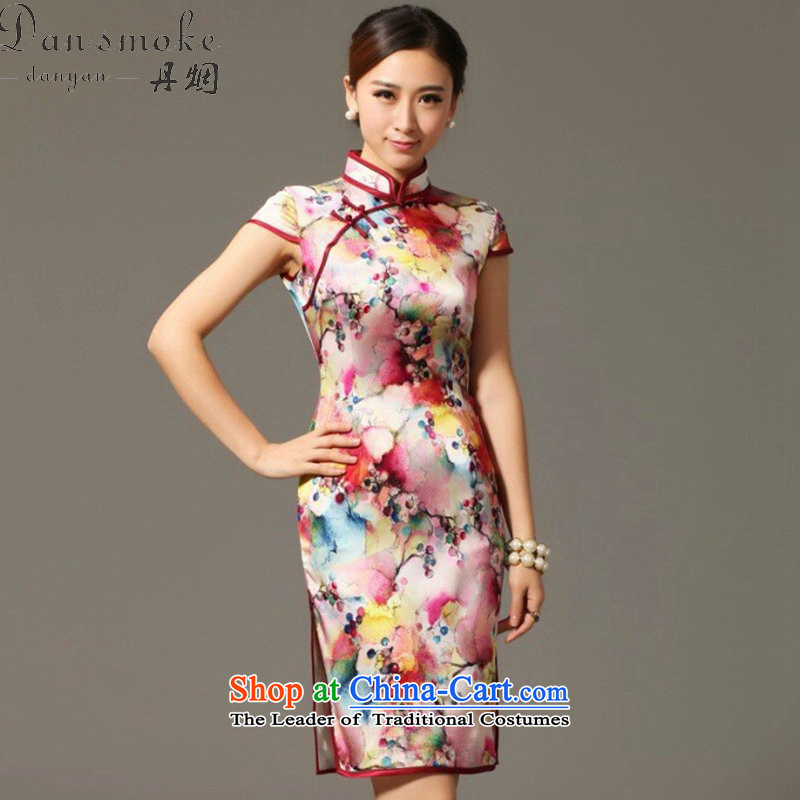 Dan Xia, smoke cheongsam dress Tang Dynasty Chinese herbs extract collar qipao sit back and relax Silk Cheongsam spend grape dress figure�L color