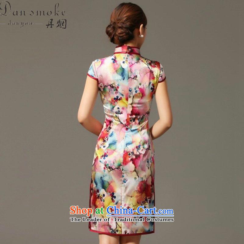 Dan Xia, smoke cheongsam dress Tang Dynasty Chinese herbs extract collar qipao sit back and relax Silk Cheongsam spend grape dress Figure Color聽3XL, Dan Smoke , , , shopping on the Internet