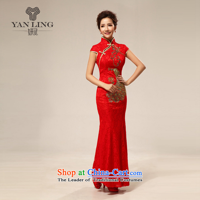 2015 red retro lace Chinese improved marriages bows cheongsam dress wedding bridal dresses 66 red replace�L