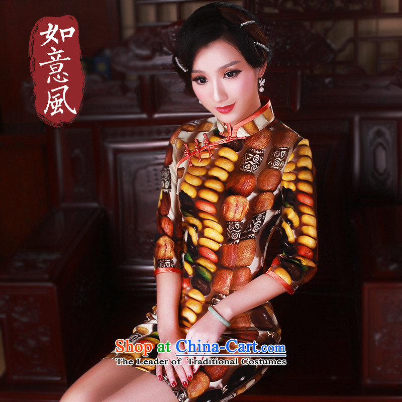 After a day of?spring 2015, Wind New Stylish retro in improved cuff cheongsam dress short of Qipao?5036 suit?L