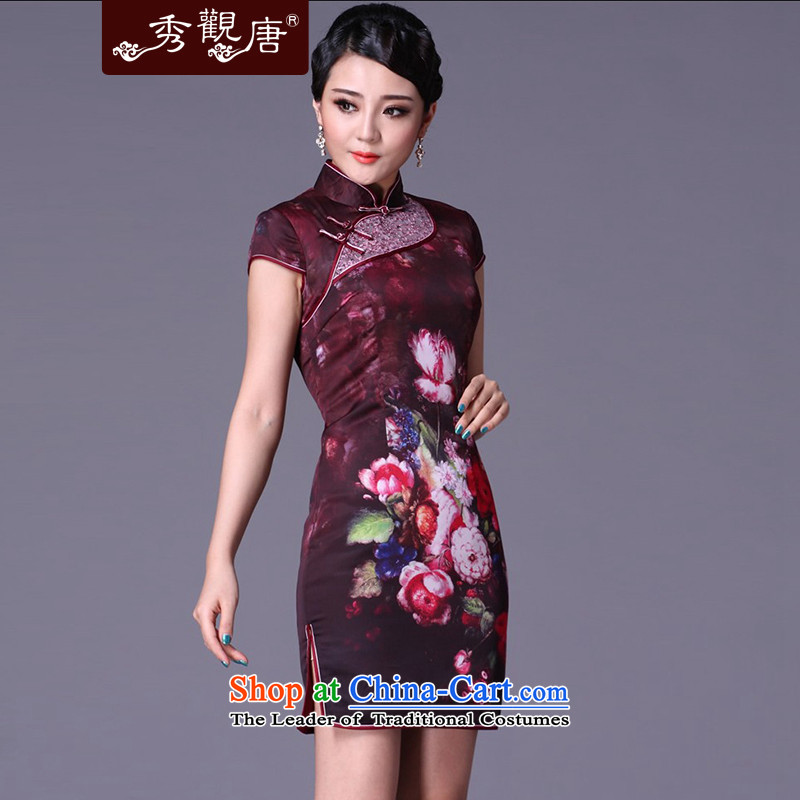 The elections as soon as possible of the Kwun Tong Sau my spring clip cotton qipao _ Winter improved stylish聽winter 2015 skirt G99211 qipao picture color聽M