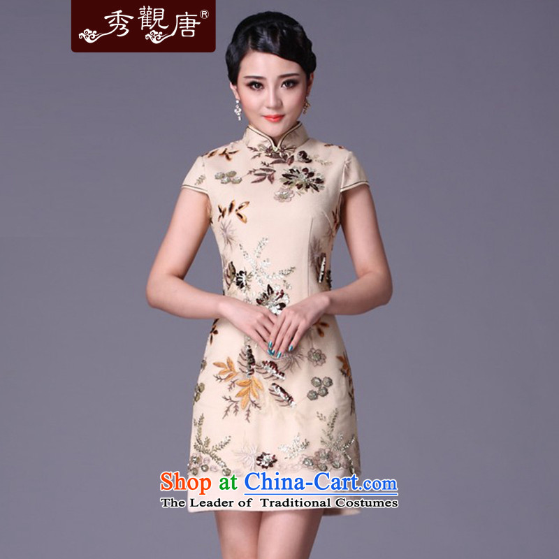 (SOO-Kwun Tong as soon as possible take strong love of New 2015 winter clothing cheongsam dress and the relatively short time, the improvement of nostalgia for the cheongsam G99215 m White�S