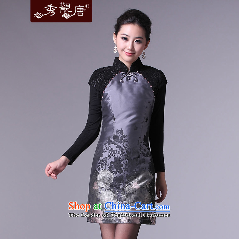 _SOO-Kwun Tong as soon as possible in the Mood for Love hand-painted winter?2015 winter day-to-day qipao short of qipao skirt retro cotton folder G97175?XXXL Silver