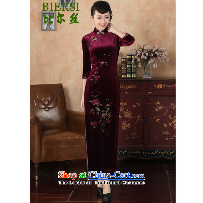 The Bill was the new improved Tang dynasty qipao retro-l'oeil Stretch Wool Sau San seven gold cuff cheongsam dress wine red�XL