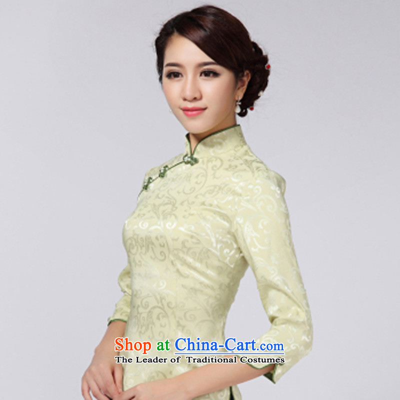 With a new 2015 the Chinese Tang dynasty Chinese 7 Stylish retro improved national cuff wind jacket female green XL