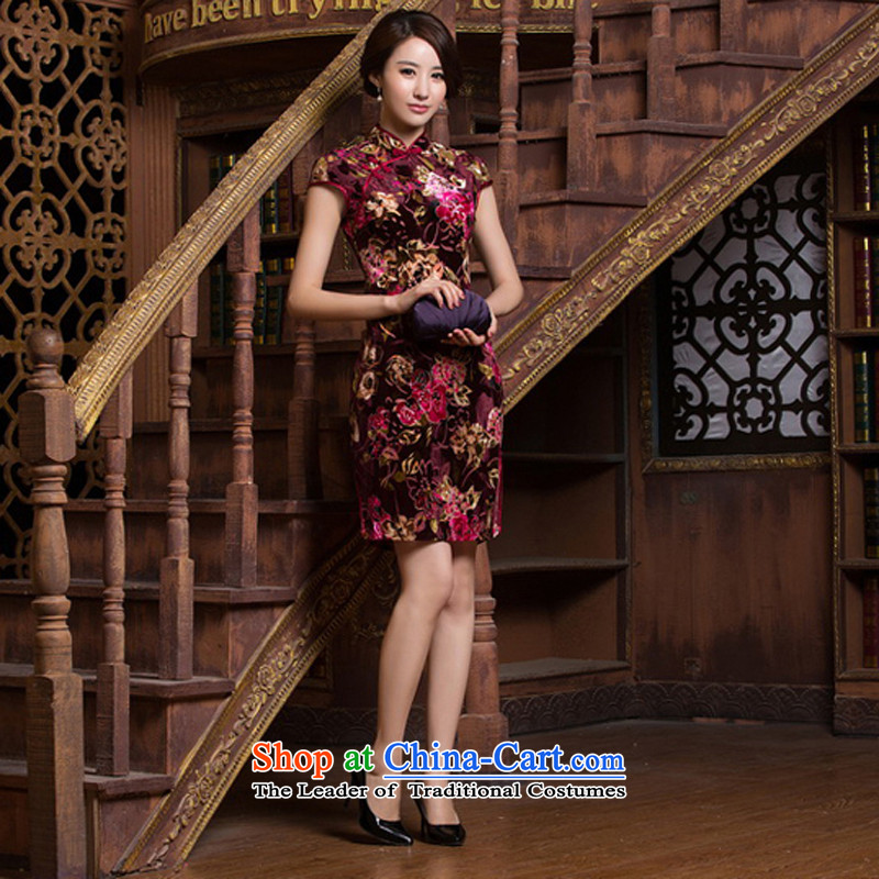 With the CHINESE CHEONGSAM improved new stylish?spring 2015 sexy beauty daily short-sleeved Silk Cheongsam, video thin short skirt?M
