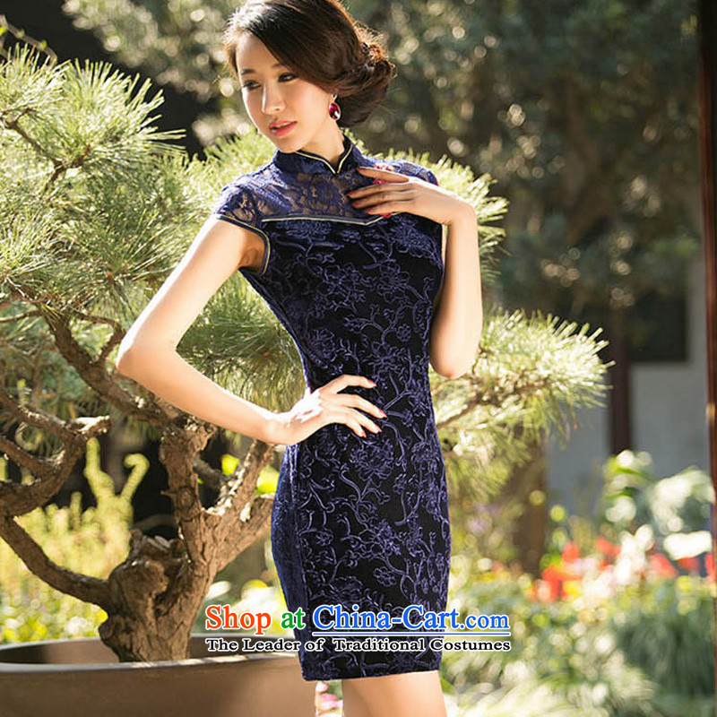 With a?new 2015 Chinese Ethnic Women Kim velvet cheongsam dress stylish improvements Sau San retro short, dark blue qipao?XXL