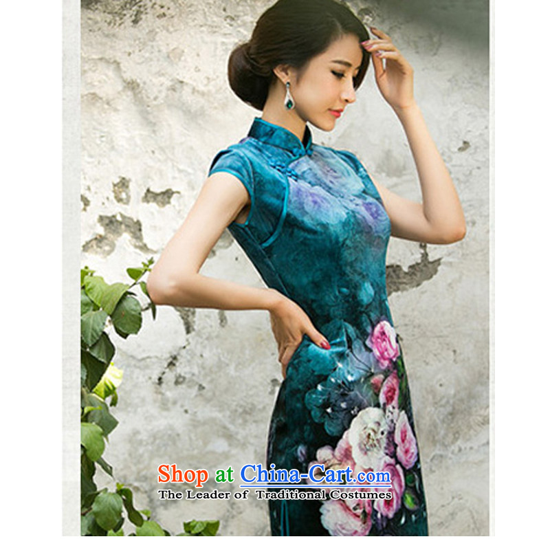 With a?new 2015 Chinese Ethnic Women Kim velvet cheongsam dress stylish improvements Sau San retro poster qipao light blue?XL