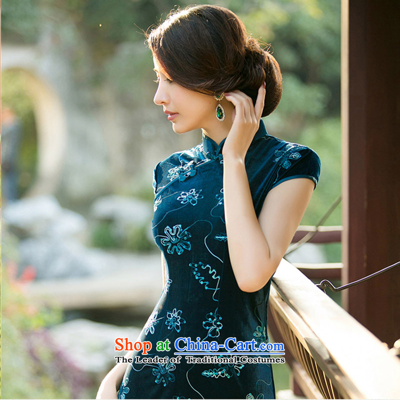 With a爊ew 2015 Chinese Ethnic Women Kim velvet cheongsam dress stylish improvements Sau San retro short of Qipao blue燣