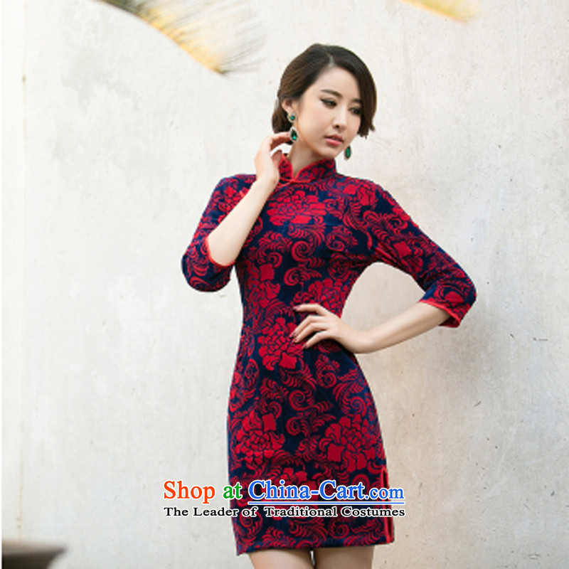 With a?new 2015 Chinese Ethnic Women Kim velvet cheongsam dress stylish improvements Sau San retro short of Qipao purple?S
